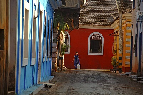 India, Goa, Panjim, colourfull houses in the old town