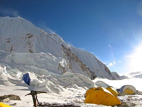 Yellow tents and peak in Camp II, 2, Mount Everest, Himalaya, Nepal