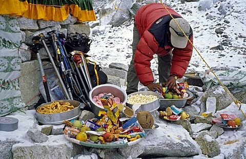 Sherpa at a Puja ceremony for the goddess Miyo Langsangma, Base Camp, 5300m, Mount Everest, Himalaya, Nepal