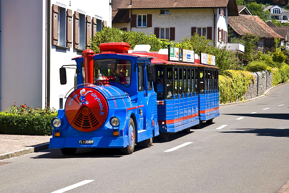Tourist train, city sightseeing, Vaduz, Liechtenstein, Europe