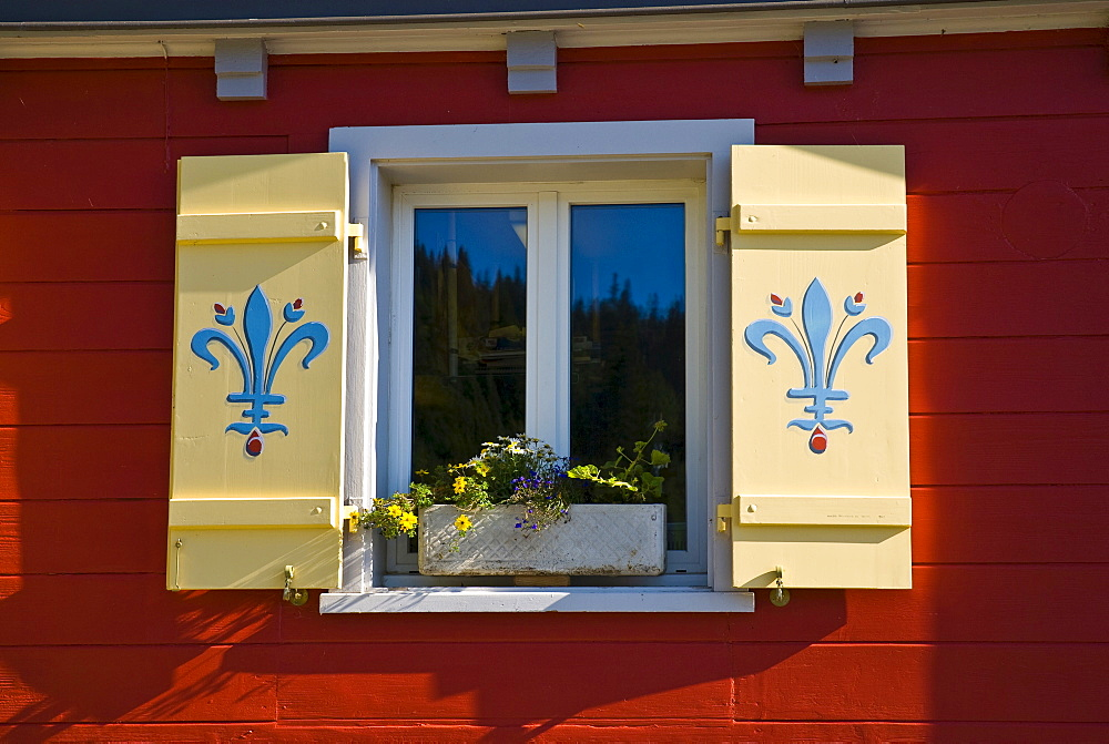 Ornate window shutters, Malbun, Liechtenstein, Europe