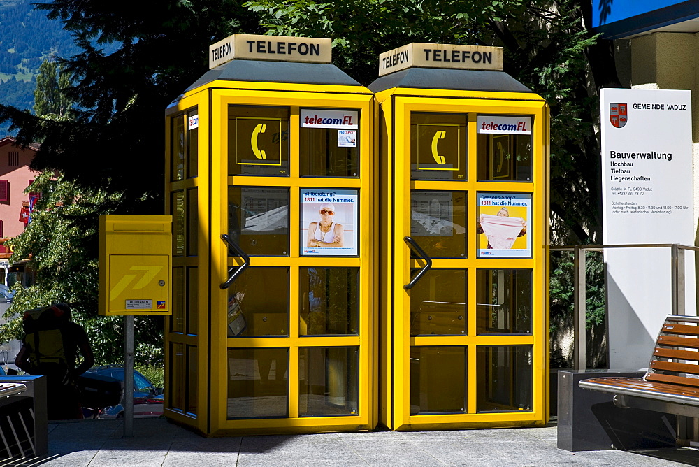 Telephone booths and mailbox, Vaduz, Liechtenstein, Europe