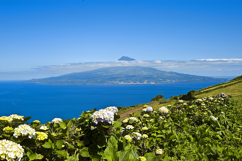 Pico Island and Volcano viewed from Faial, Azores, Portugal, Atlantic Ocean