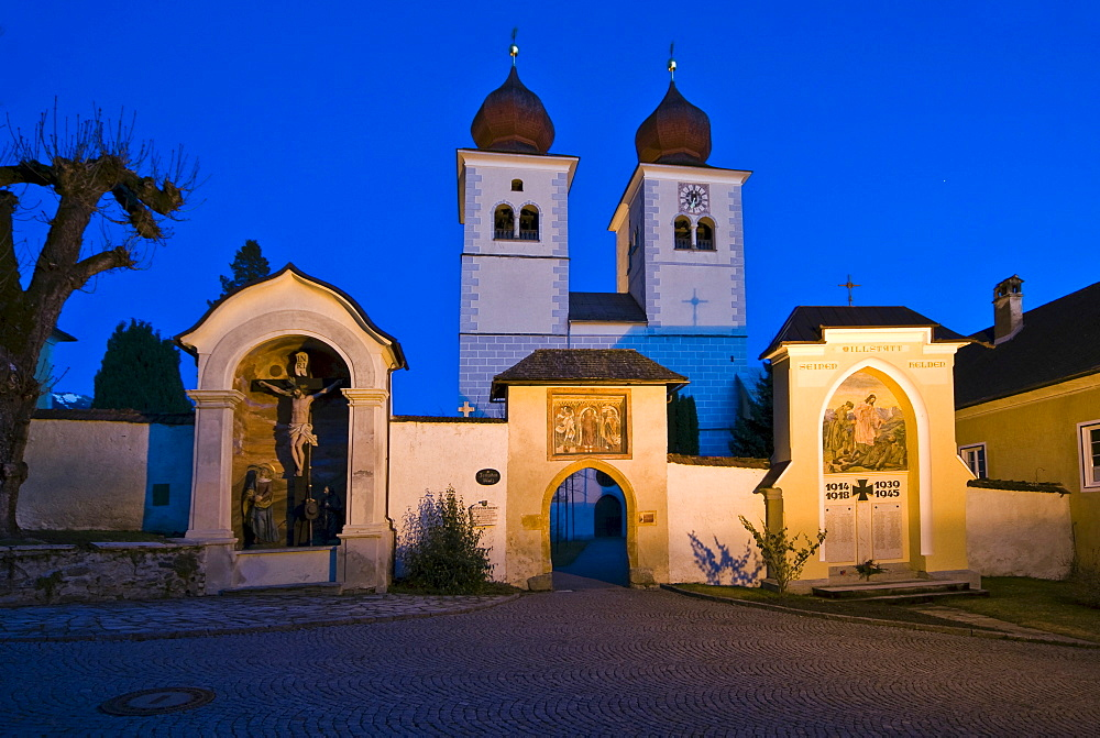 Stift Millstatt Church at night, Millstatt, Carinthia, Austria