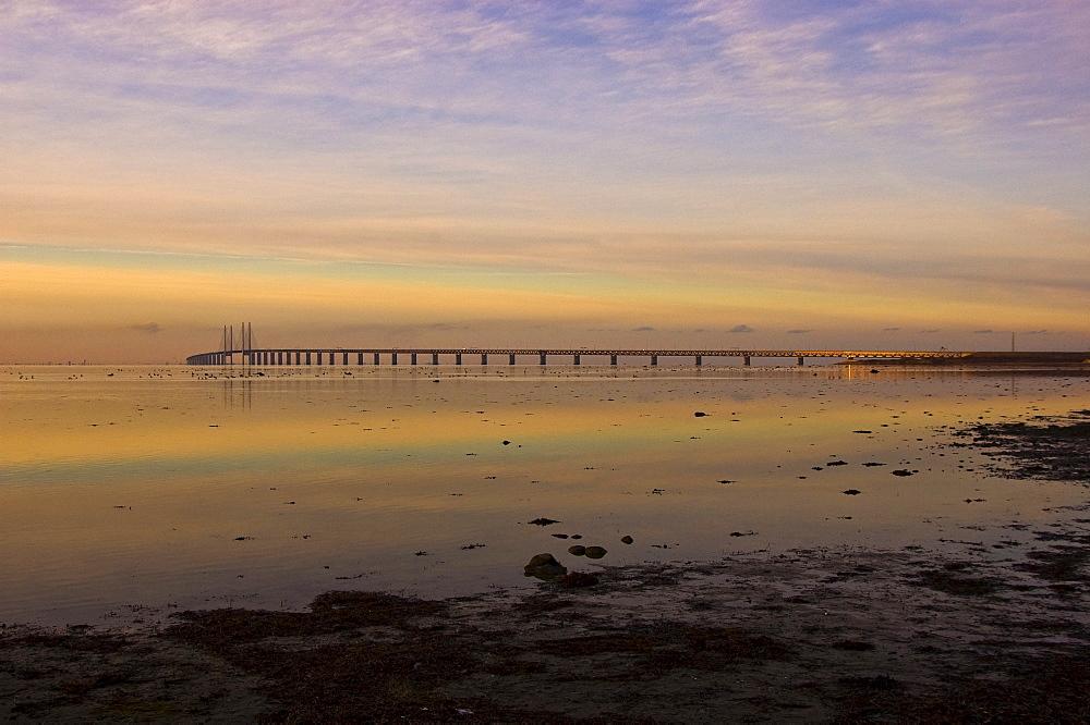 View of the Oresund Bridge connecting Copenhagen with Limhamn, Malmo, Sweden, Scandinavia, Europe