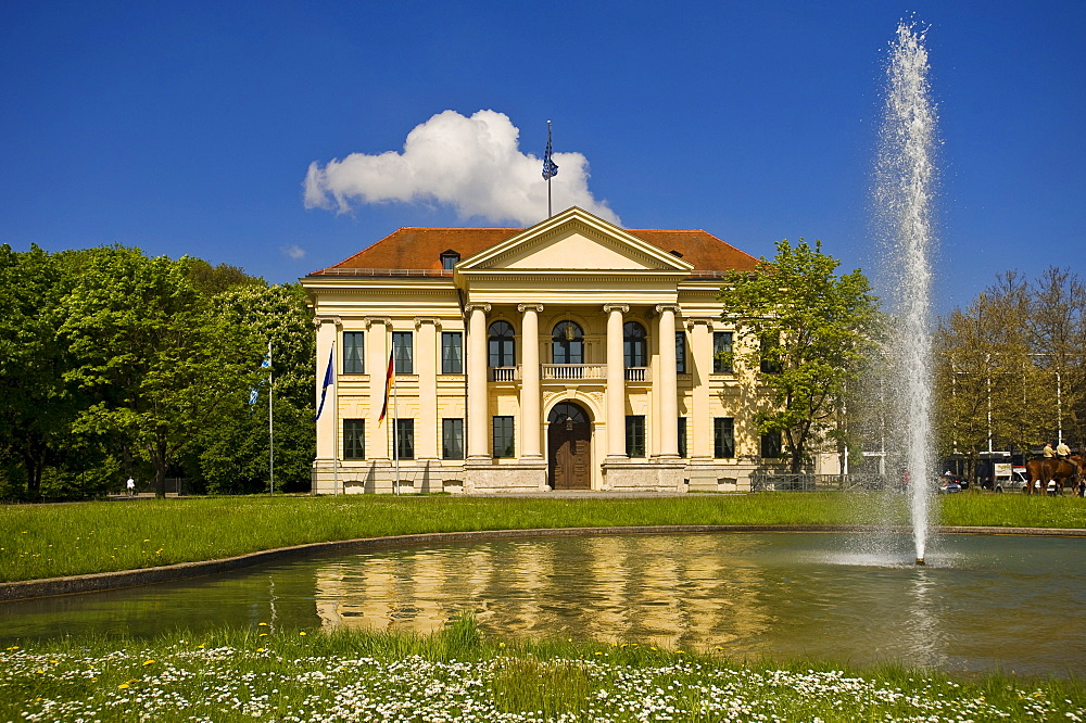 Prinz Karl Palais with fountain, Munich, Upper Bavaria, Germany, Europe