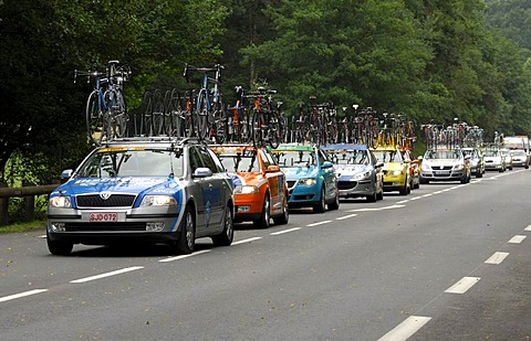 Team cars following the team of the Tour de France 2006