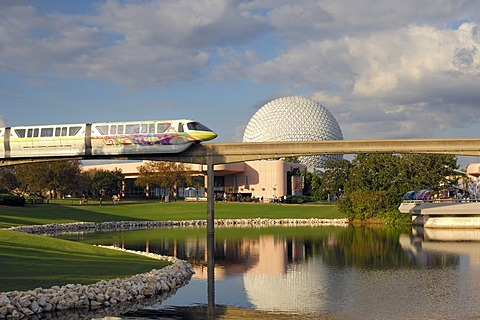 Monorail with Spaceship Earth behind, Epcot, Disney World, Florida, USA - 832-300881