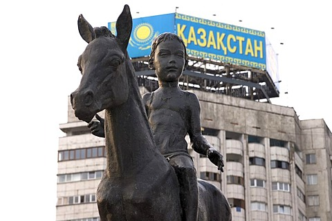 Horse rider monument at the Square of the Republic Almaty Kazakhstan