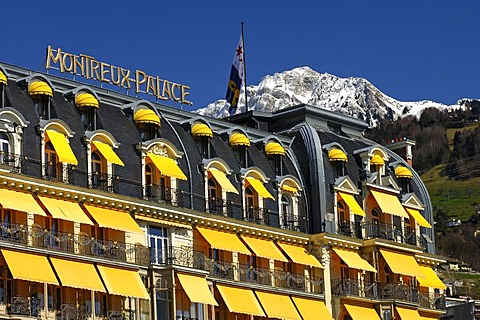 Le Montreux Palace Hotel Montreux and the snow-covered peak of Rochers de Naye (2042 m) Switzerland