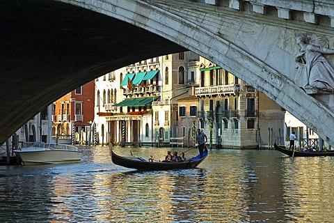Under the Rialto Bridge Venice Italy