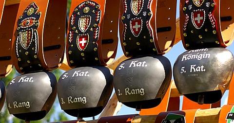 Cow bells, winner prizes, Combat of queens, Swiss cow fighting, Aproz, Valais, Switzerland