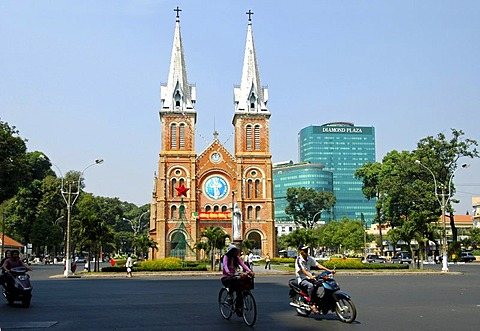 Catholic cathedral Notre Dame and shopping center Diamond Plaza, Ho Chi Minh City, Saigon, Viet Nam
