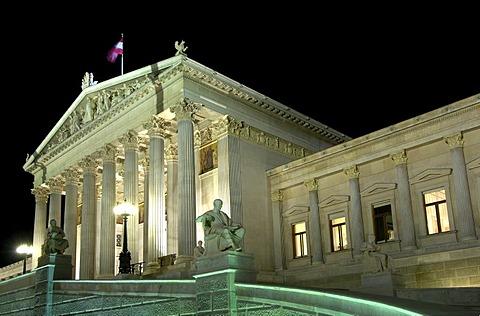 Nightshot of the parliamentary building, Vienna, Austria