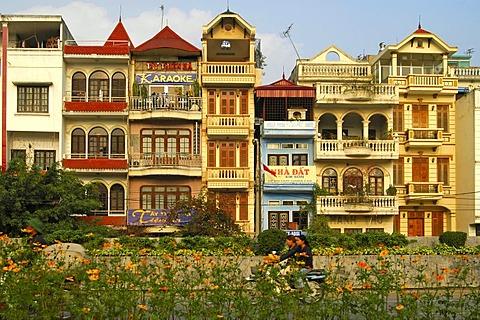 Renovated French-style shop-houses, Hanoi, Vietnam