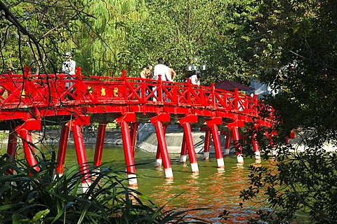 The Huc bridge, Rising sun bridge, leading to Ngoc Son temple, Hoan Kiem Lake, Lake of the Restored Sword, Hanoi, Vietnam
