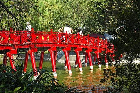 The Huc bridge, Rising sun bridge, leading to Ngoc Son temple, Hoan Kiem Lake, Lake of the Restored Sword, Hanoi, Vietnam