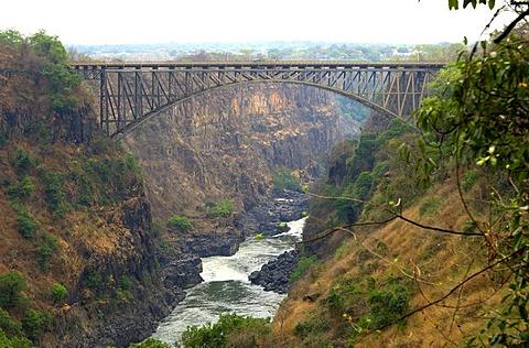 Victoria Falls bridge spanning the Zambezi river, Victoria Falls, Zimbabwe