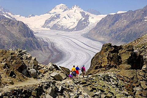 Hiking along the Aletsch Glacier, Konkordia Platz, UNESCO world heritage Jungfrau - Aletsch - Bietschhorn region, Valais, Switzerland