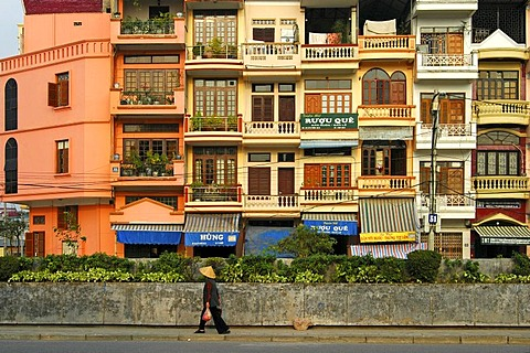 Renovated French-style shop-houses, Hanoi, Vietnam