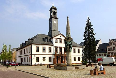 City hall and main square, Rochlitz, Saxony, Germany
