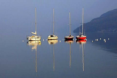 Anchoring boats on Lake of Annecy, Lac d'Annecy, Duingt, Haute-Savoie France
