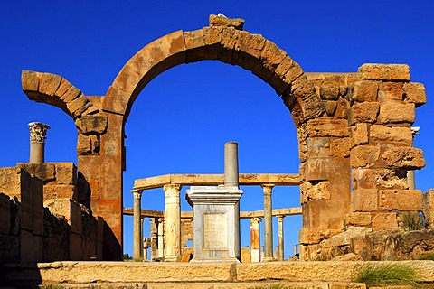 Ancient market place, Roman ruins of Leptis Magna, Libya