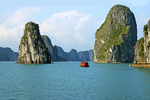 Limestone monolithic island of Halong Bay, UNESCO wolrld heritage, Vietnam