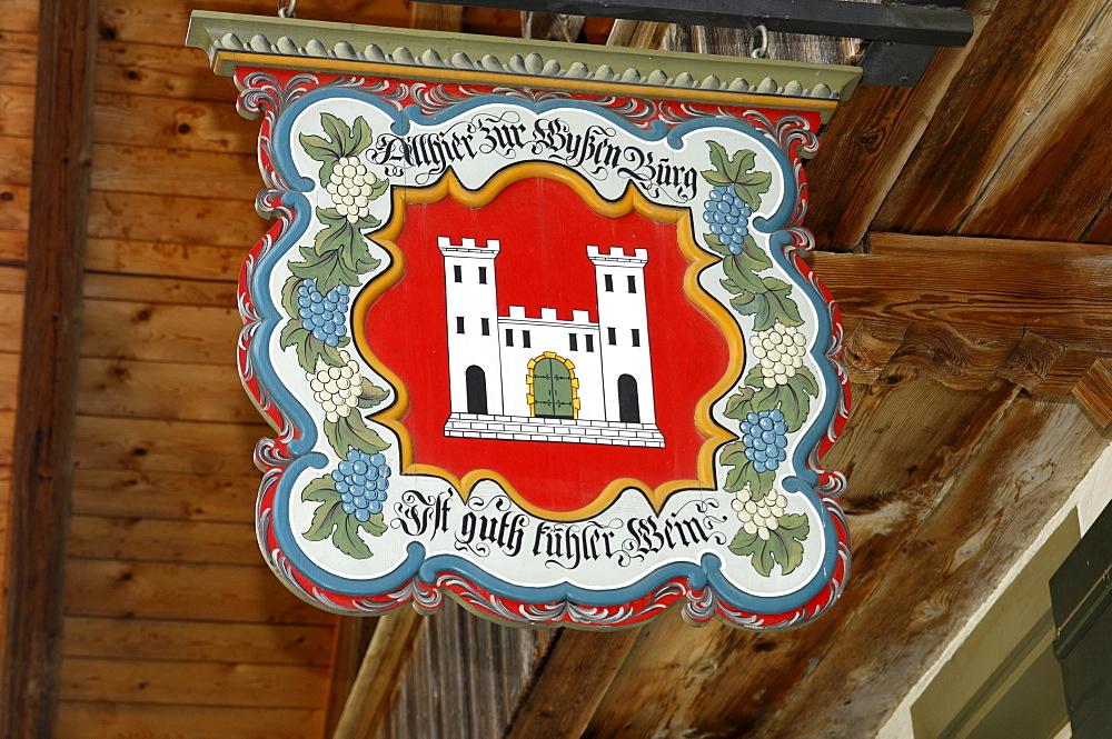 A restored inn sign, Oberwil, Simmental, Switzerland