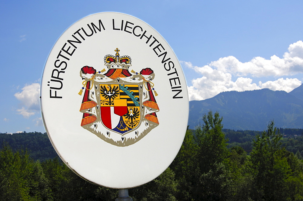 Demarcation of the national border, border sign with the Great Arms of the Nation, Principality of Liechtenstein