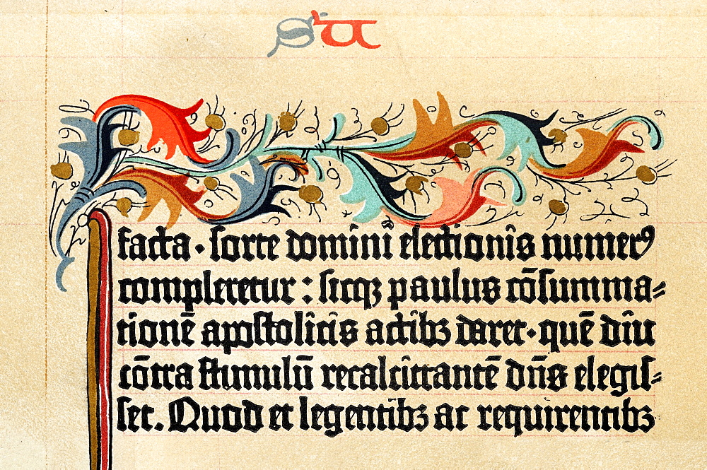 Gothic Miniscule script on parchment from the Gutenberg Bible dating to circa 1455, originally part of a collection in Leipzig that was lost after 1945; reproduction dating to 1886