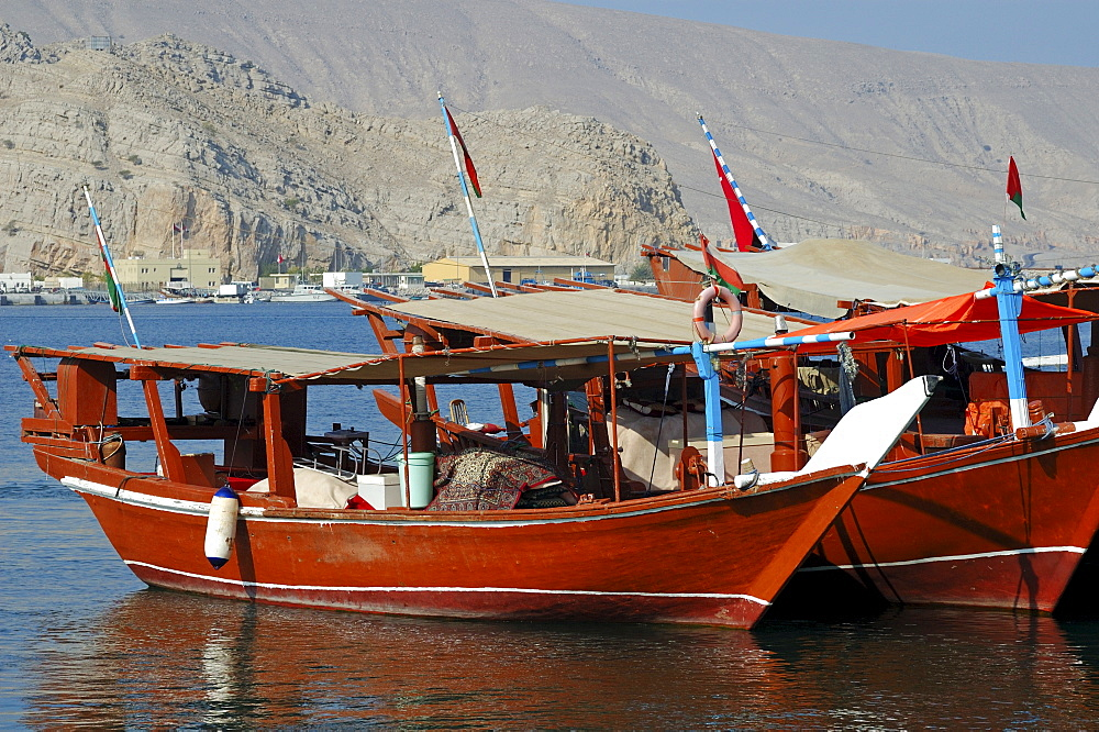 Traditional dhows in the harbour of Khasab, Musamdam, Oman, Middle East