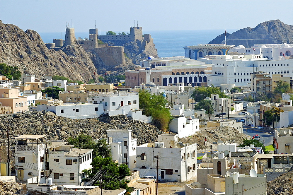 View towards Old Muscat, historic centre, Fort Mirani in the back, Oman, Middle East