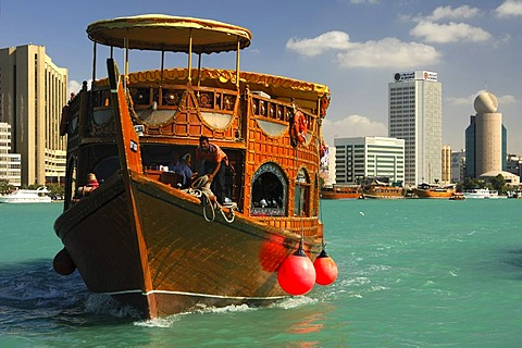 Dhow pleasure cruise on the Creek lagoon, Dubai, United Arab Emirates