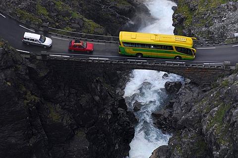 Motor bus, cars, Trollstigen, Norway