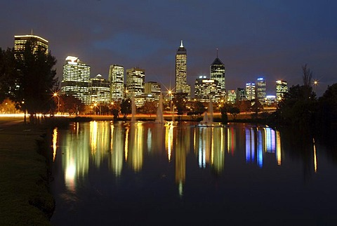 Skyline at night, Perth, Western Australia