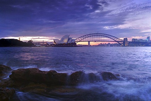 Opera and Harbour Bridge at dusk, Sydney, New South Wales, Australia