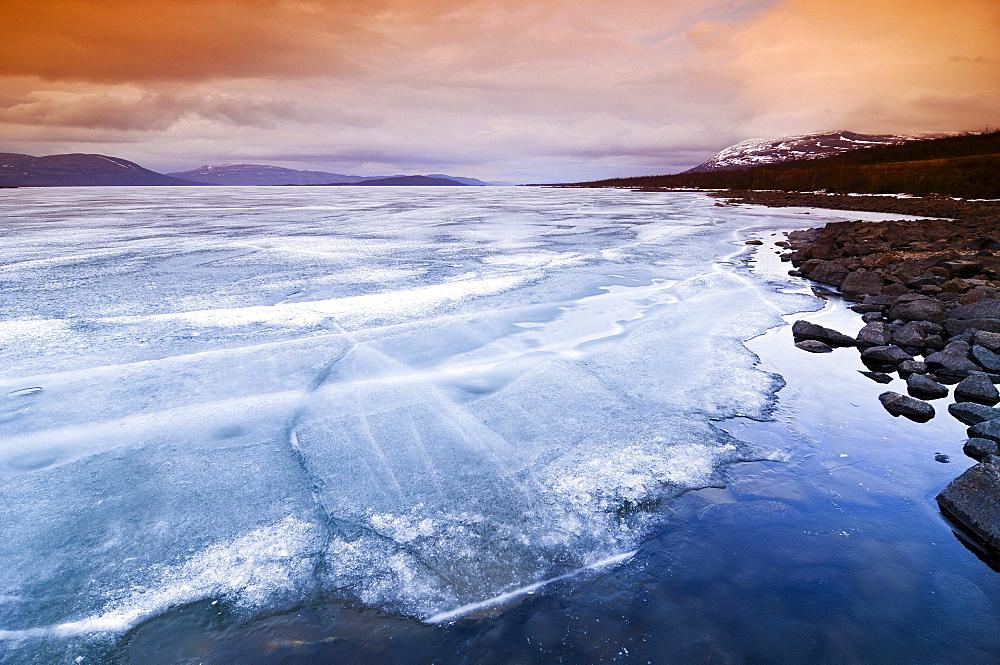 Frozen surface of a fjord, Troms, Lenvik, Norway, Scandinavia, Europe