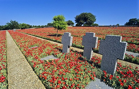 Three crosses, soldier's cemetery, Maleme, Crete, Greece
