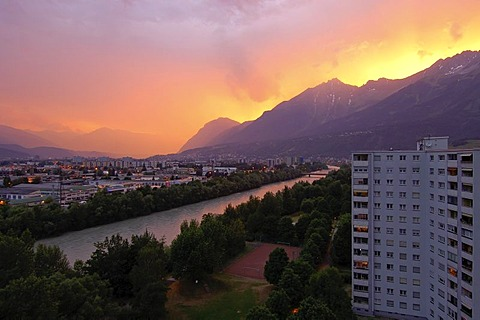 View over Innsbruck, Inn and Nordkette, Tyrol, Austria