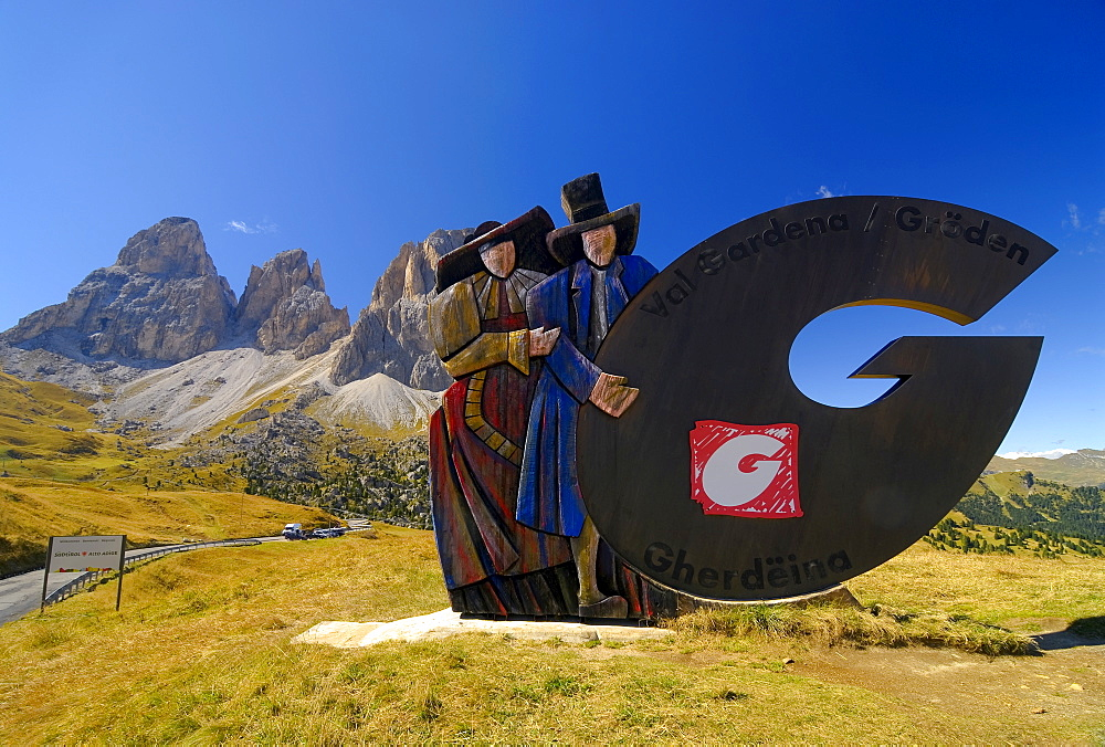 Figures wearing national costume, Passo Sella (Sella Pass), Bolzano-Bolzen, Italy
