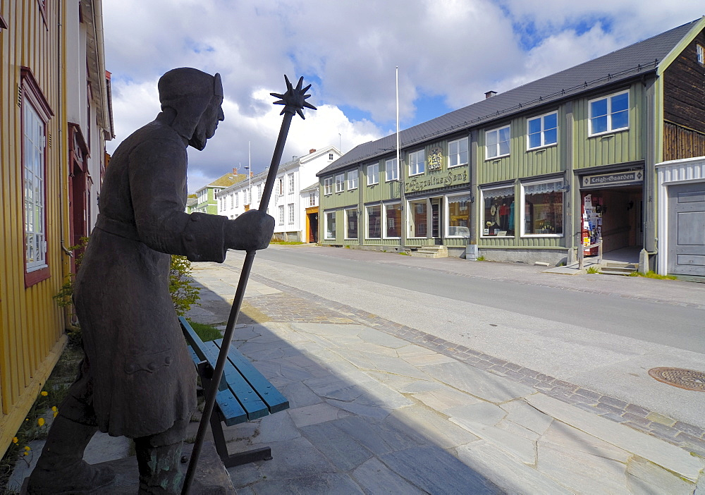 Statue on a street in Roeros, iron mining town, UNESCO World Heritage Site, Sor-Trondelag, Norway