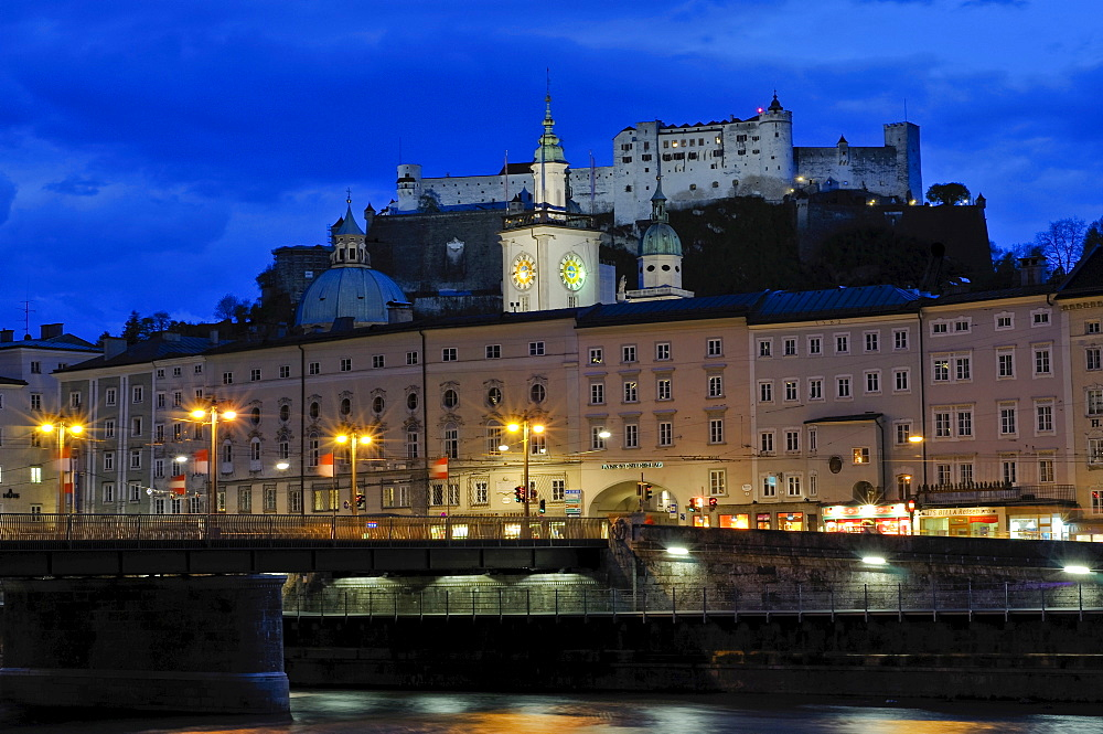 View of the historic centre and Hohensalzburg Fortress across the Salzach River, Salzburg, Austria, Europe