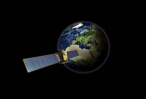 Satellite in front of the globe with Europe, symbolic image Galileo navigation system, overhead intelligence, data transmission