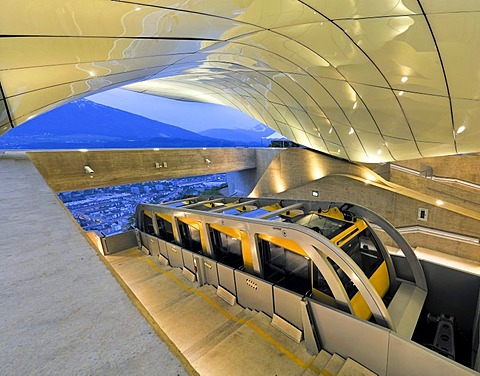 Hungerburgbahn railway parked in the mountain station, designed by star architect Zaha Hadid, Innsbruck, Tirol, Austria, Europe