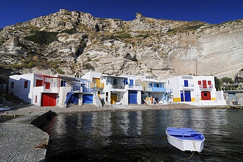 Colourful houses beside the ocean of the fishing village of Klima on Milos Island, Cyclades Island Group, Greece, Europe - 832-303348