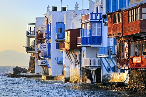 Houses facing the sea, colourful wooden balconies in Little Venice, Mykonos, Cyclades, Greece, Europe - 832-303361