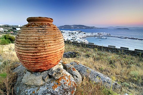 Antique clay vase in front of the old port of Mykonos, Cyclades, Greece, Europe