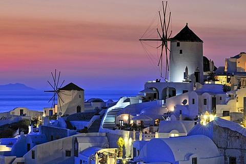 Windmills at sunset, Oia, Ia, Santorini, Cyclades, Greece, Europe - 832-303430
