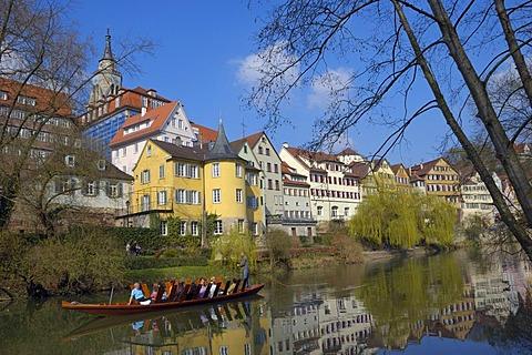 The beautiful Neckar waterfront, Tuebingen, Baden-Wuerttemberg, Germany, Europe